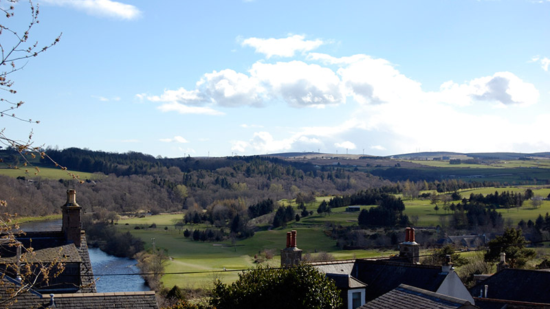 The view looking out from room 3 over the River Dee and Peterculter Golf Course